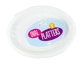 White Plastic Oval Platters - 12 Pack
