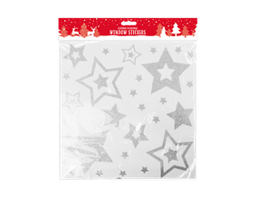 Christmas Glittered Star Window Stickers