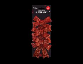Wholesale Glittered Christmas Medium Bows | Gem Imports Ltd