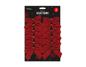 Red Velvet Christmas Bows - 12 Pack