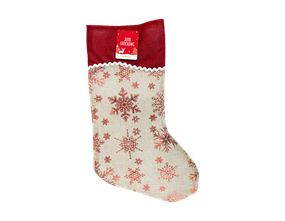 Christmas Jute Foil Printed Stocking
