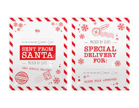 Christmas Printed Santa Sacks - 2 Pack