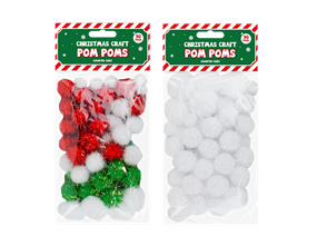 Christmas Craft Pom Poms - 50 Pack