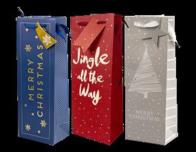 Wholesale Christmas Luxury Foiled Bottle Bags | Gem Imports Ltd