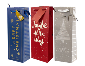 Wholesale Christmas Luxury Foiled Bottle Bags | Gem Imports Ltd