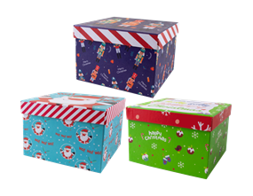 Wholesale Christmas Printed Square Gift Boxes | Gem Imports Ltd