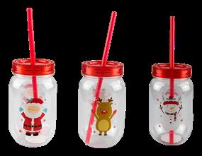 Wholesale Christmas Mason Drinking Jar & Straws | Gem Imports