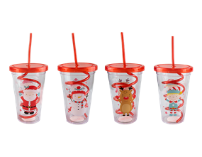 Wholesale Christmas Cup & Twist Straw | Gem Imports Ltd
