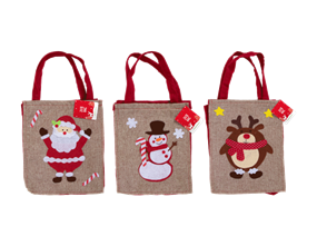 Wholesale Christmas Jute Bag With Felt Character | Gem Imports Ltd