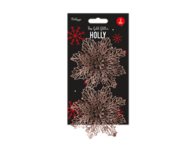 Wholesale Rose Gold Holly Decorations | Gem Imports Ltd