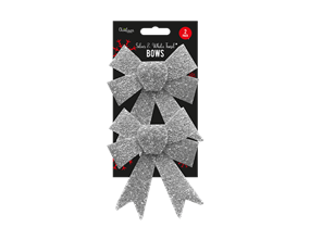 Wholesale Silver & White Glitter Tinsel Bows | Gem Imports Ltd