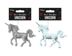 Wholesale Silver & White Glitter Unicorn Decorations | Gem Imports Ltd