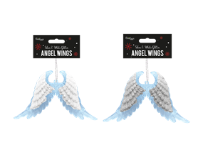 Wholesale Silver & White Glitter Acrylic Angel Wings | Gem Imports