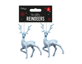 Wholesale Silver Glitter Reindeers | Gem Imports Ltd