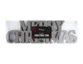 Wholesale Silver Merry Christmas Glitter Sign | Gem Imports Ltd