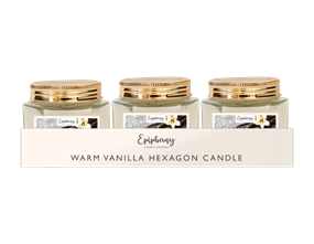 Wholesale Creamy Vanilla Hexagon Candle | Gem Imports Ltd