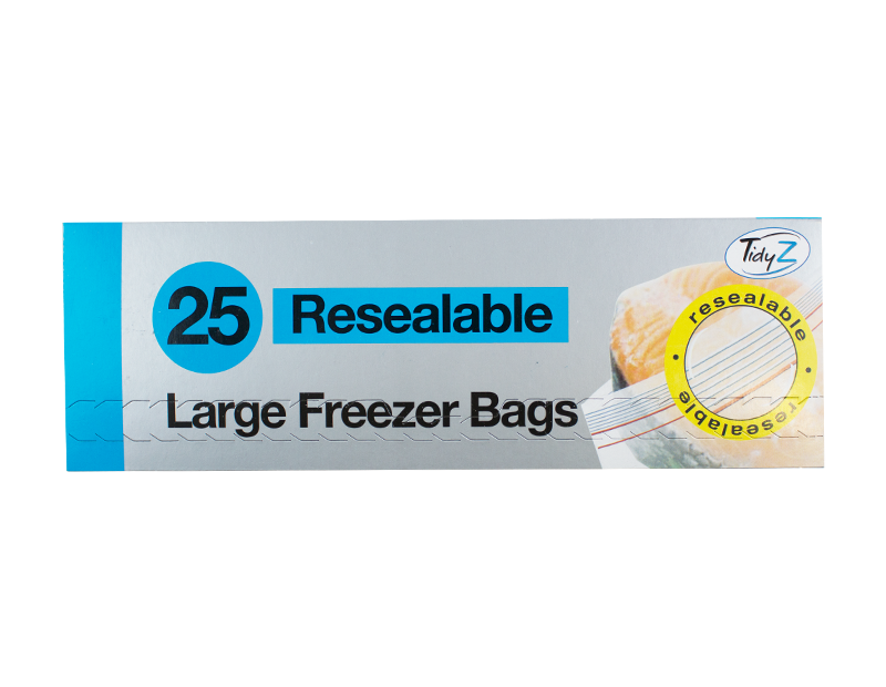 Resealable Food & Freezer Bags - 25 Pack