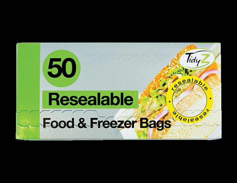 Resealable Food & Freezer Bags - 50 Pack