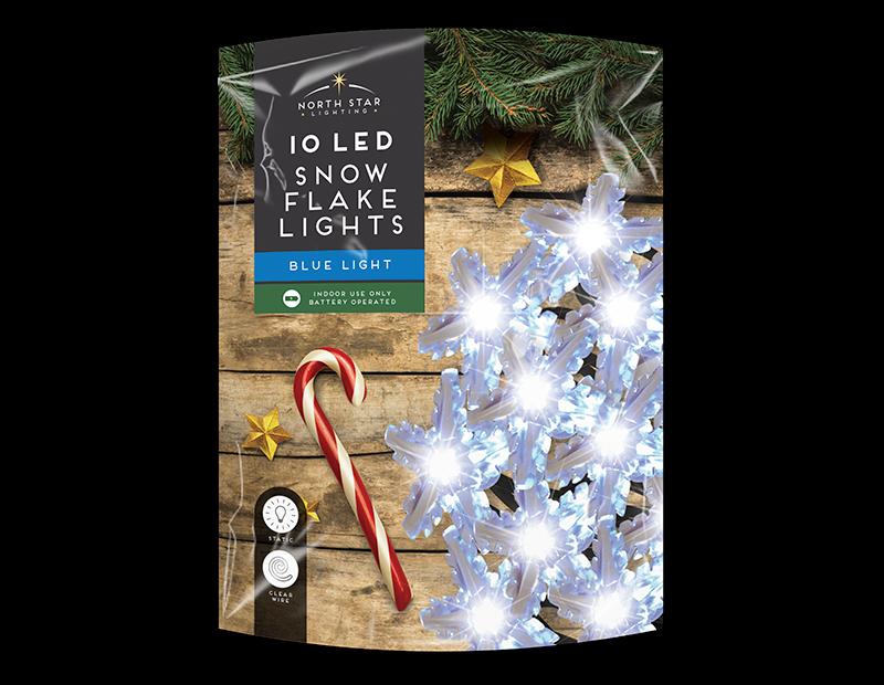 Blue LED Christmas Snowflake String Lights - 10 LEDs (With PDQ)