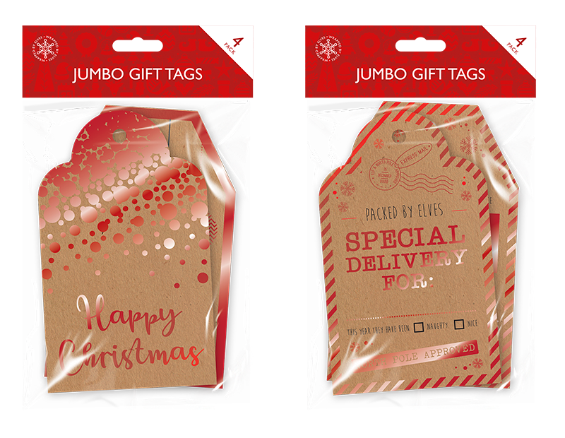 Christmas Jumbo Gift Tags - 4 Pack
