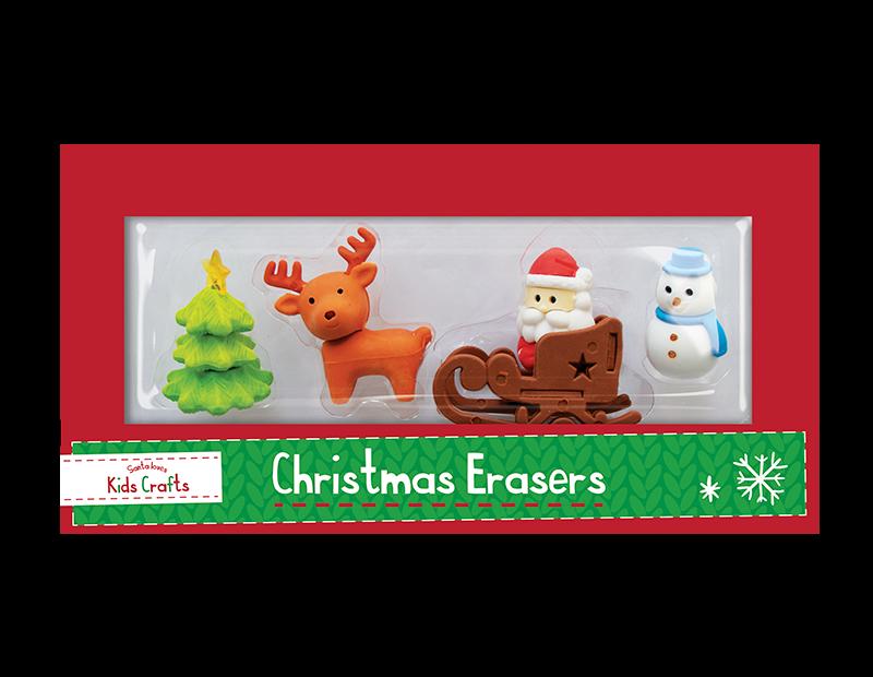 Christmas Novelty Eraser Set - 4 Pack (With PDQ)