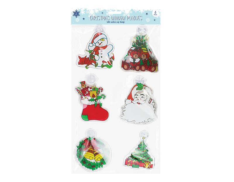 Christmas Window Plaques - 6 Pack