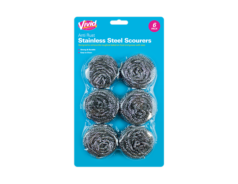 Stainless Steel Scourers - 6 Pack