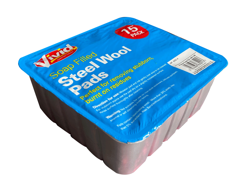 Soap Filled Steel Wool Pads - 15 Pack