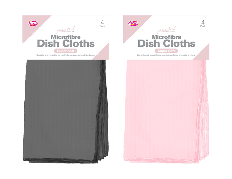 Microfibre Coloured Dish Cloths 4 Pack - Trend
