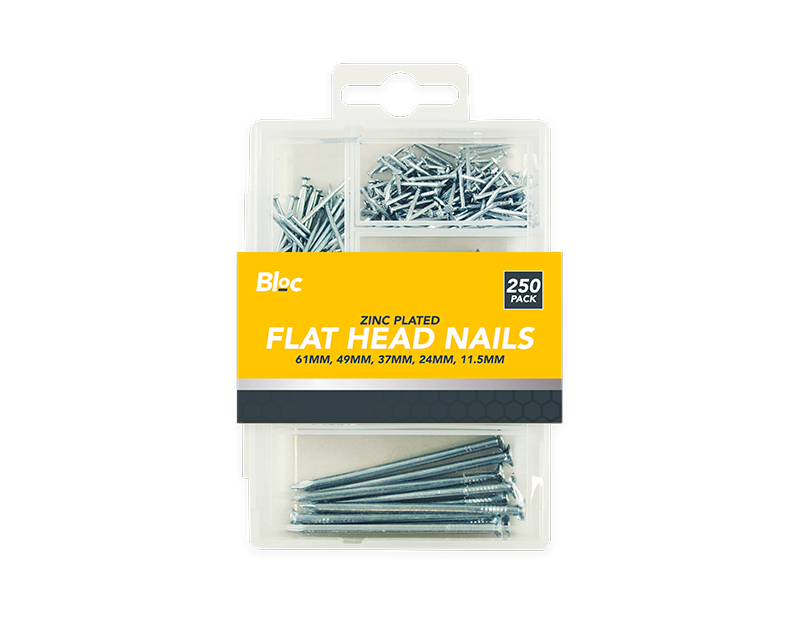 Assorted Flat Head Nails - 250 Pack