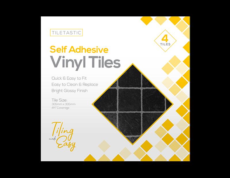 Dark Square Self Adhesive Vinyl Tiles - 4 Pack
