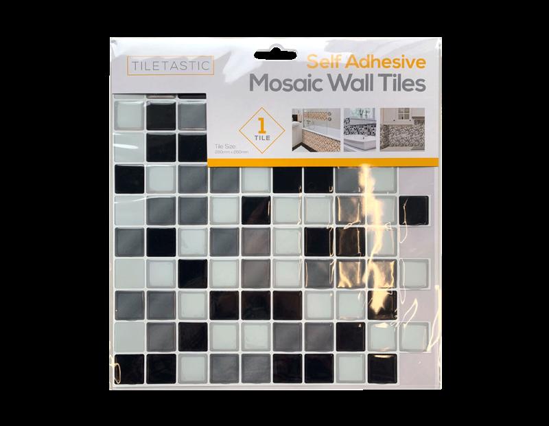 Black & White Self Adhesive Mosaic Wall Tile