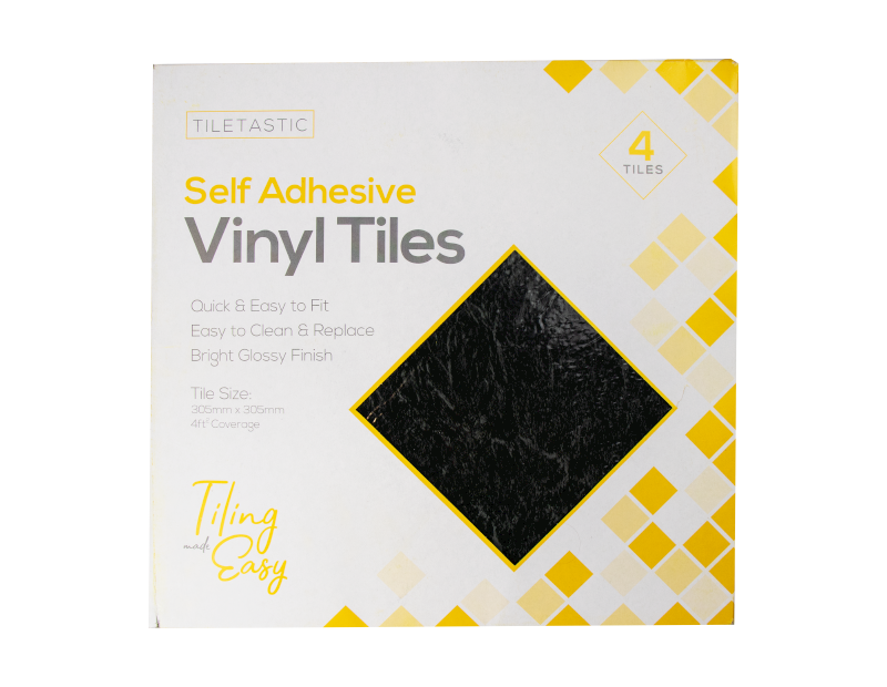 Dark Slate Self Adhesive Vinyl Floor Tiles - 4 Pack