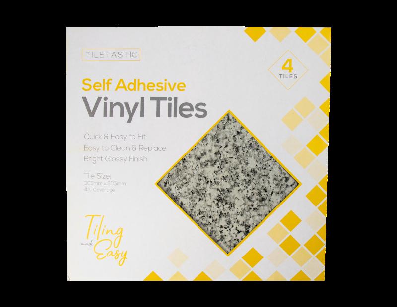 Granite Stone Self Adhesive Vinyl Floor Tiles - 4 Pack