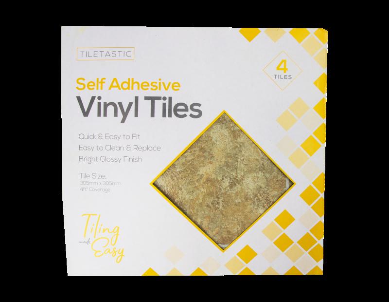 Brown Stone Self Adhesive Vinyl Floor Tiles - 4 Pack