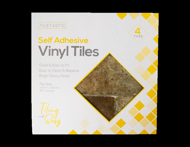 Cut Stone Self Adhesive Vinyl Floor Tiles - 4 Pack