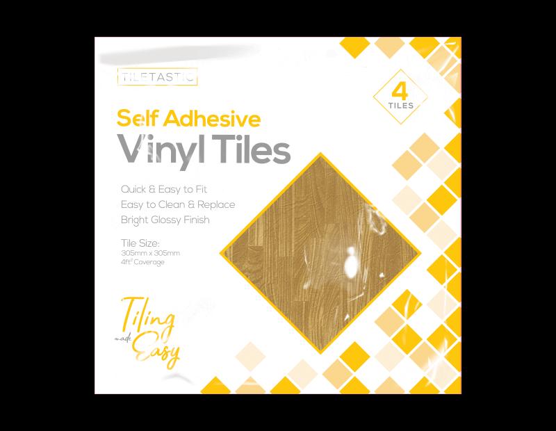 Oak Wood Self Adhesive Vinyl Floor Tiles - 4 Pack