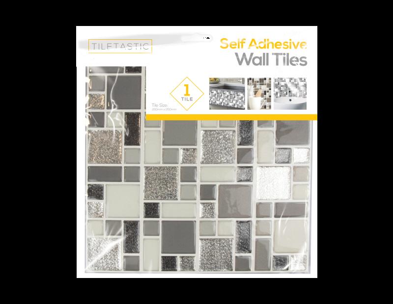 Grey Glitter Mosaic Wall Tile Sticker