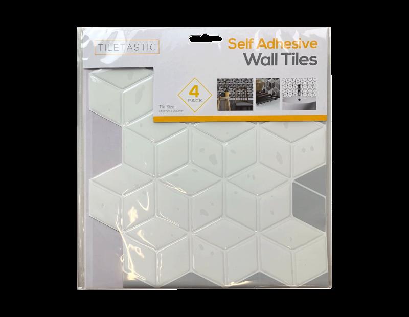White Hexagon Self Adhesive Mosaic Wall Tile - 4 Pack