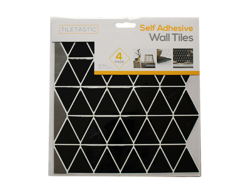Black Triangle Self Adhesive Mosaic Wall Tile - 4 Pack