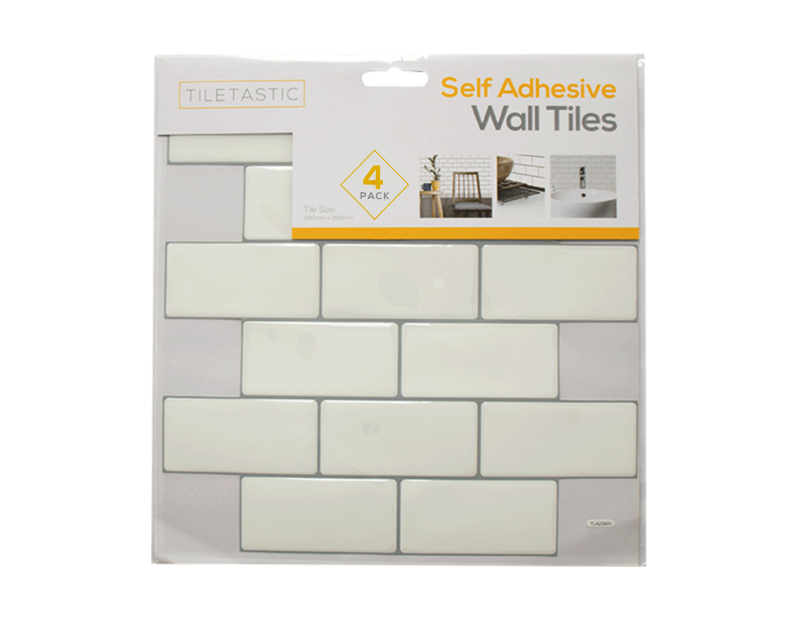 White Brick Self Adhesive Wall Tile - 4 Pack