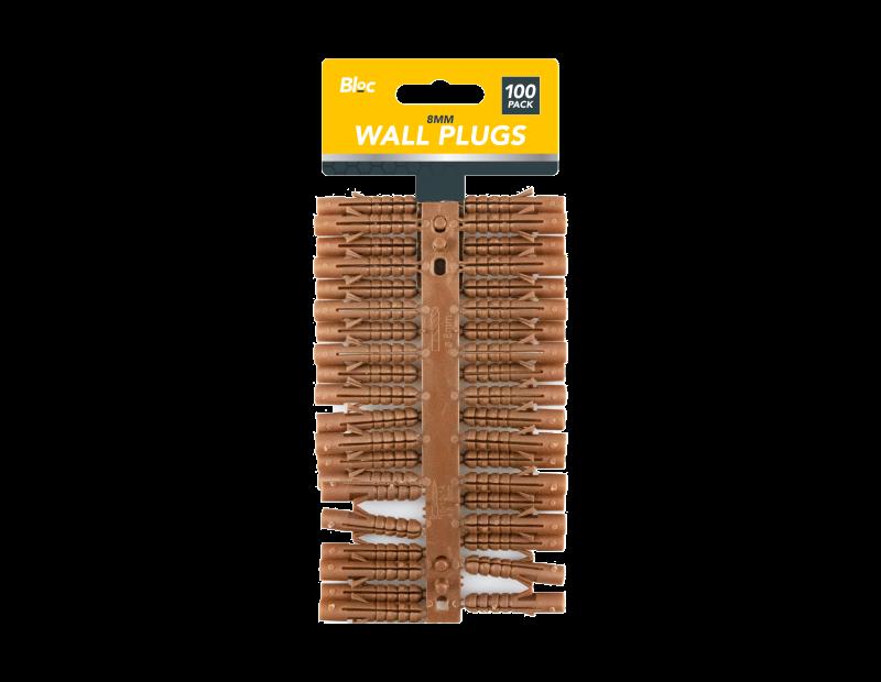 Plastic Wall Plugs 8mm - 100 Pack