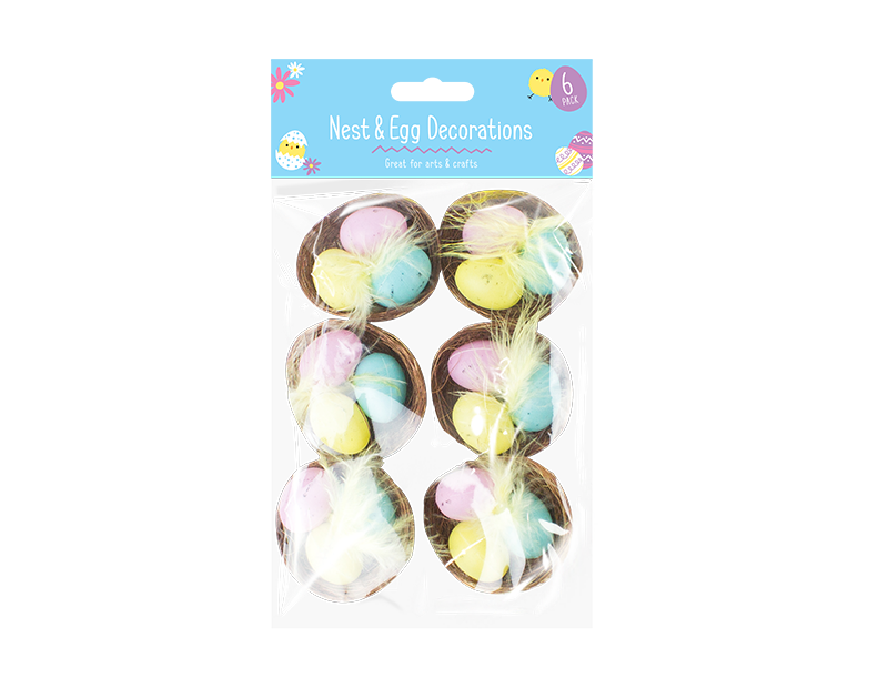 Easter Egg Nest Decorations - 6 Pack