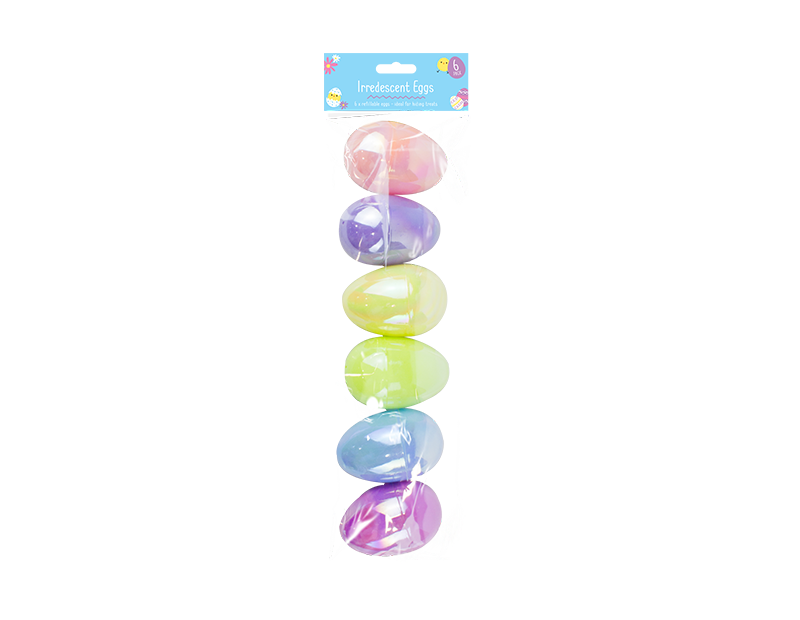 Easter Iridescent Fillable Eggs - 6 Pack