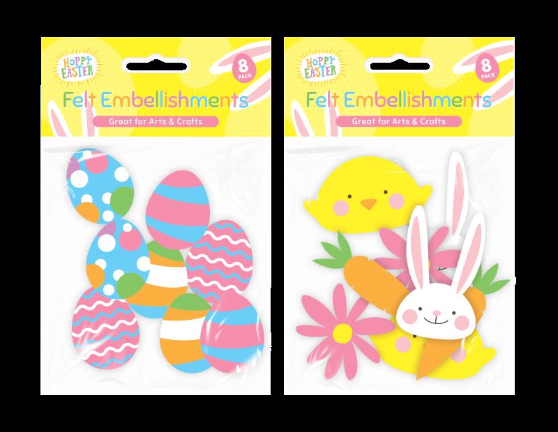 Easter Felt Embellishments - 8 Pack