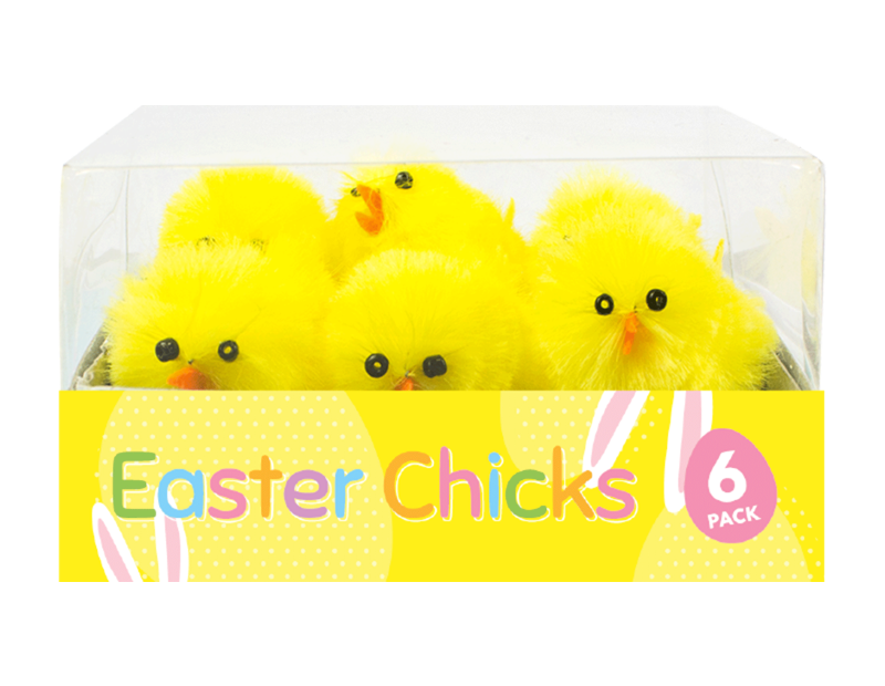 Easter Chick Decorations 4cm - 6 Pack (With PDQ)