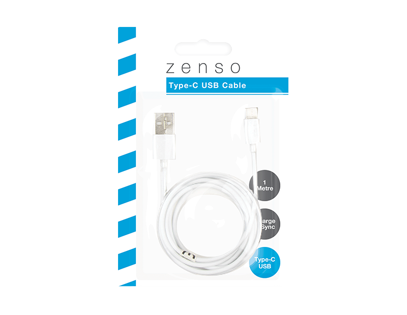 White USB Cable Type C 1m