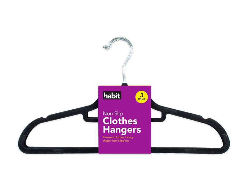 Flocked Clothes Hangers - 3 Pack