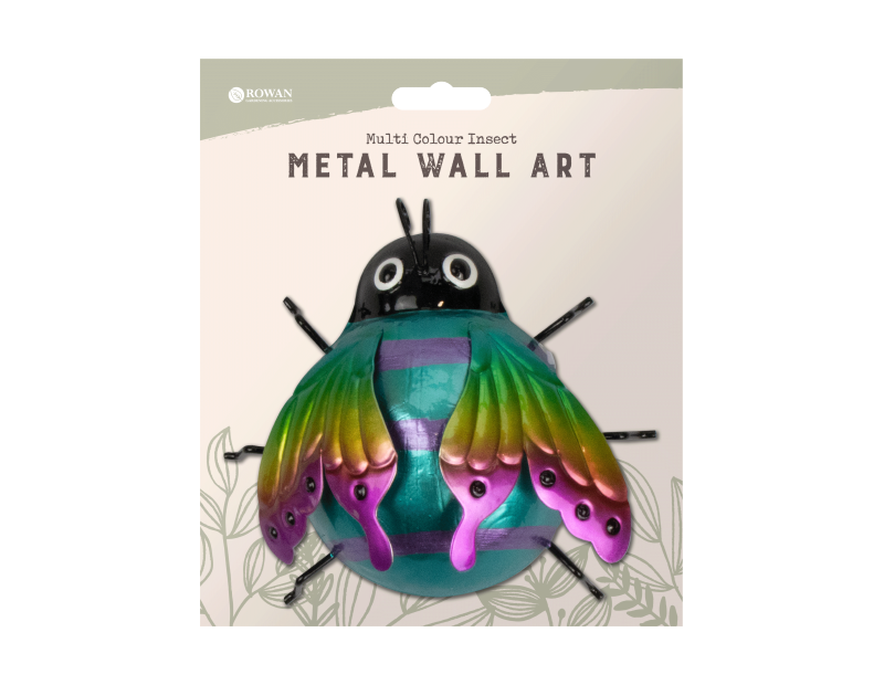 Multi Colour Insect Metal Wall Decoration