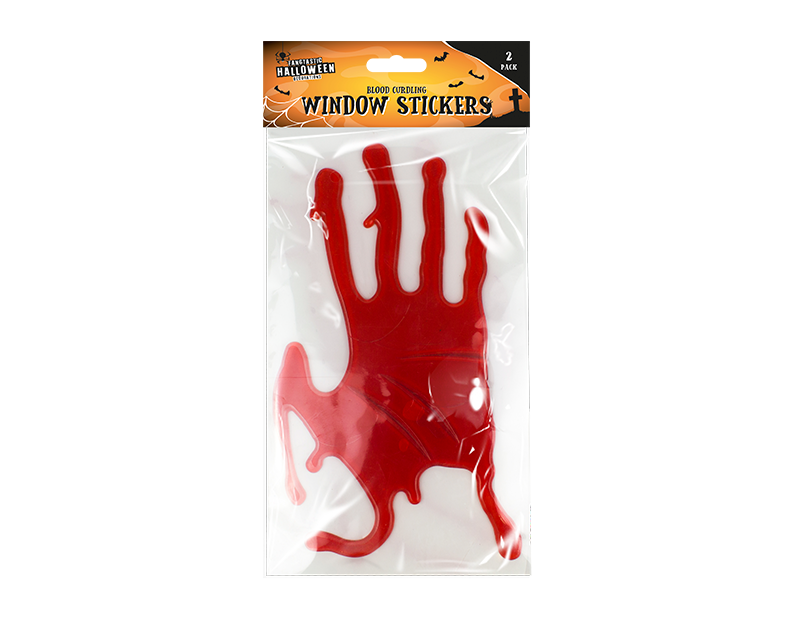 Halloween Bloody Hands Gel Window Stickers - 2 Pack